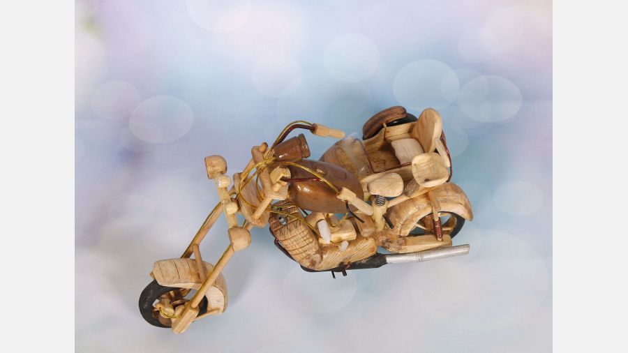 Wooden Handmade Motorcycle with side car - Rustic Toy vintage