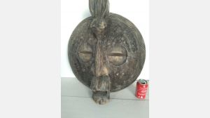 BIG vintage antique African trivial Mask carved wood & metal handmade sculpture